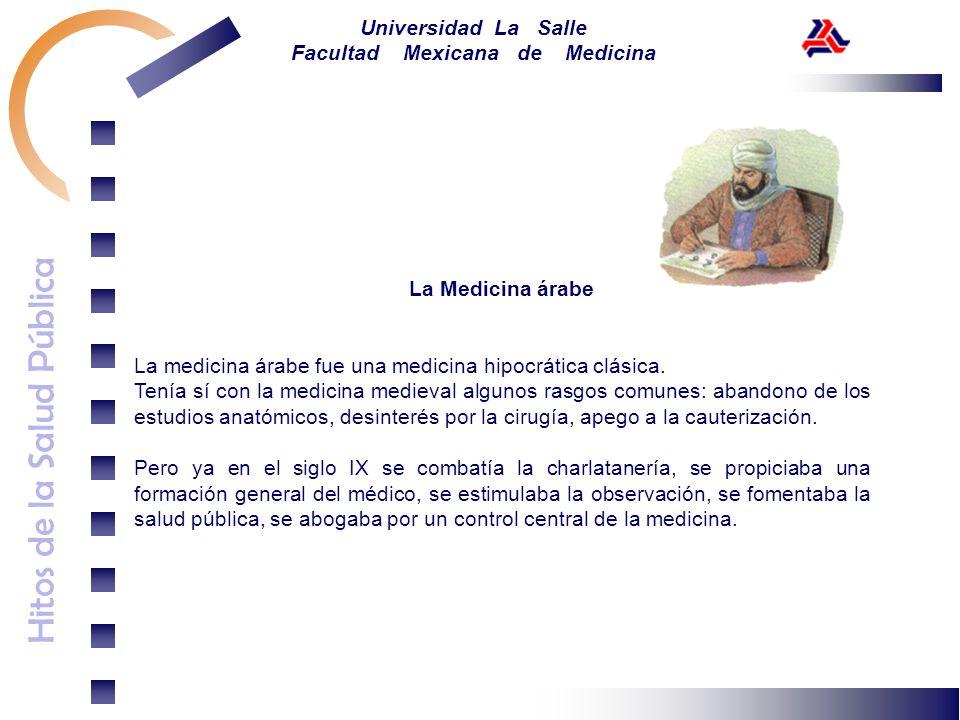 Hitos de la Salud Pública Universidad La Salle Facultad Mexicana de Medicina La Medicina árabe La medicina árabe fue una medicina hipocrática clásica.