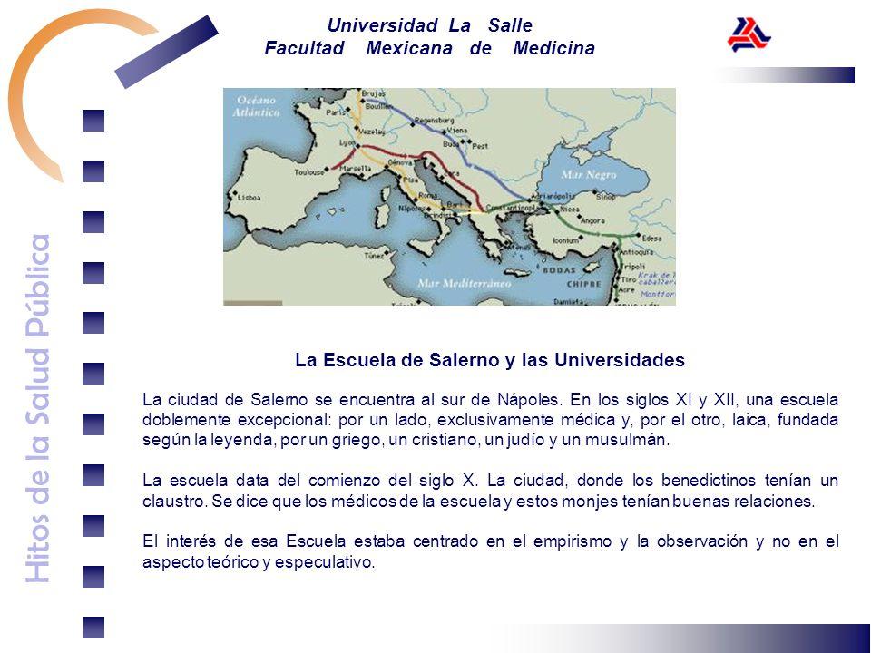 Hitos de la Salud Pública Universidad La Salle Facultad Mexicana de Medicina La Escuela de Salerno y las Universidades La ciudad de Salerno se encuent