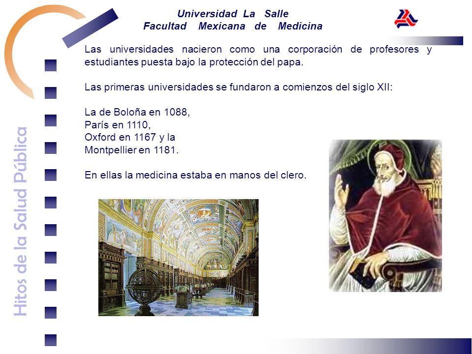 Hitos de la Salud Pública Universidad La Salle Facultad Mexicana de Medicina Las universidades nacieron como una corporación de profesores y estudiant