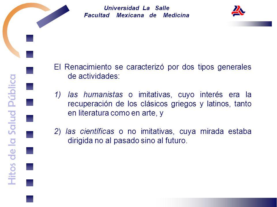 Hitos de la Salud Pública Universidad La Salle Facultad Mexicana de Medicina El Renacimiento se caracterizó por dos tipos generales de actividades: 1)