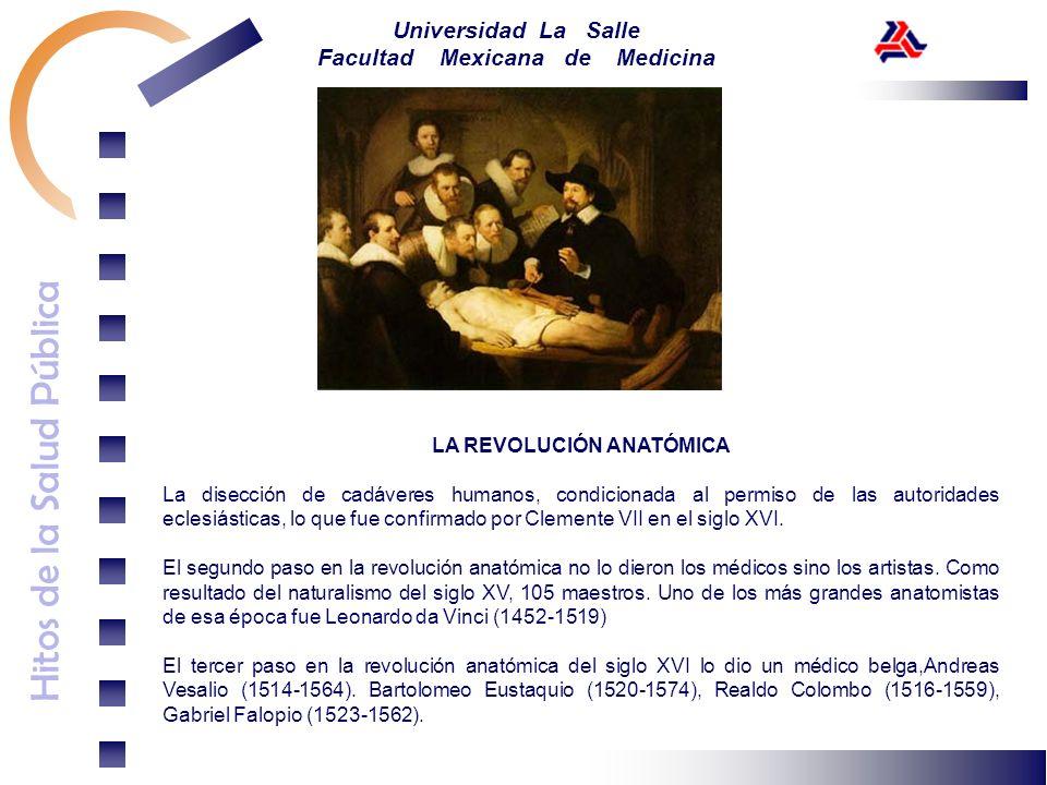 Hitos de la Salud Pública Universidad La Salle Facultad Mexicana de Medicina LA REVOLUCIÓN ANATÓMICA La disección de cadáveres humanos, condicionada a