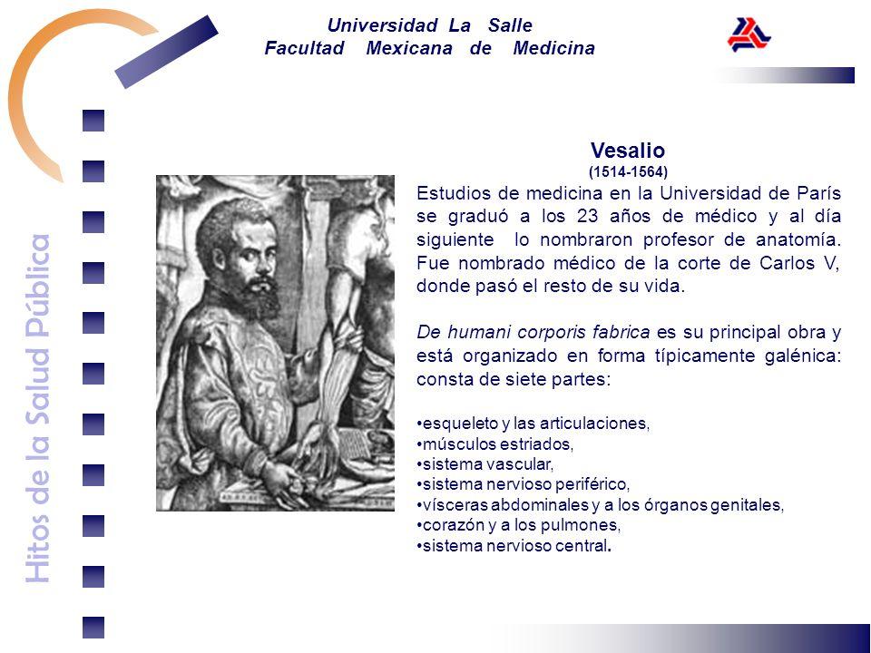 Hitos de la Salud Pública Universidad La Salle Facultad Mexicana de Medicina Vesalio (1514-1564) Estudios de medicina en la Universidad de París se gr
