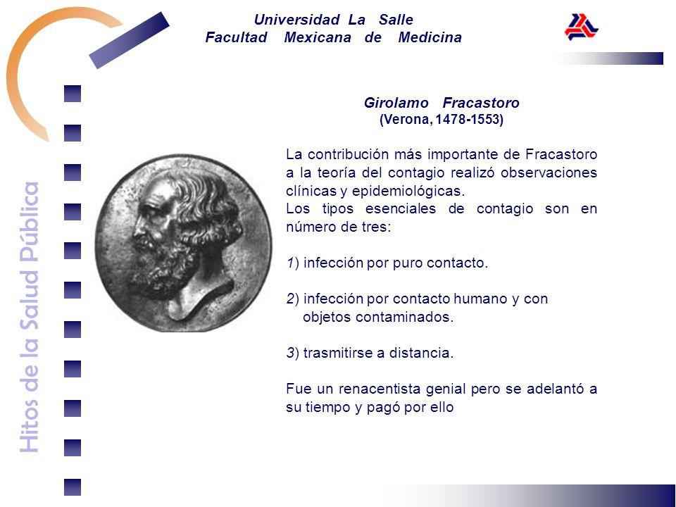 Hitos de la Salud Pública Universidad La Salle Facultad Mexicana de Medicina Girolamo Fracastoro (Verona, 1478-1553) La contribución más importante de