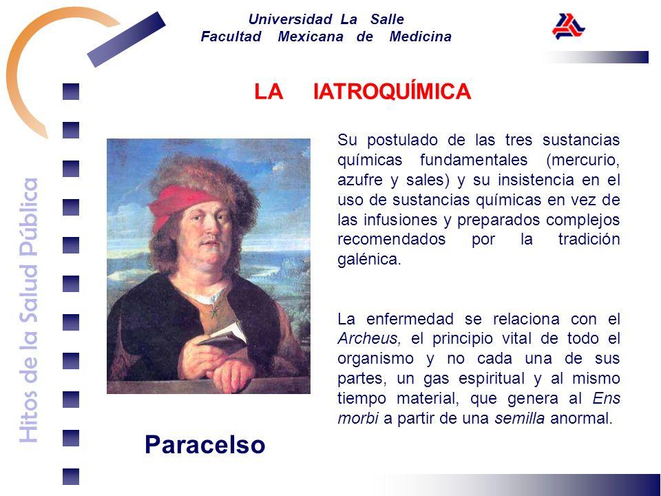Hitos de la Salud Pública Universidad La Salle Facultad Mexicana de Medicina Paracelso Su postulado de las tres sustancias químicas fundamentales (mer