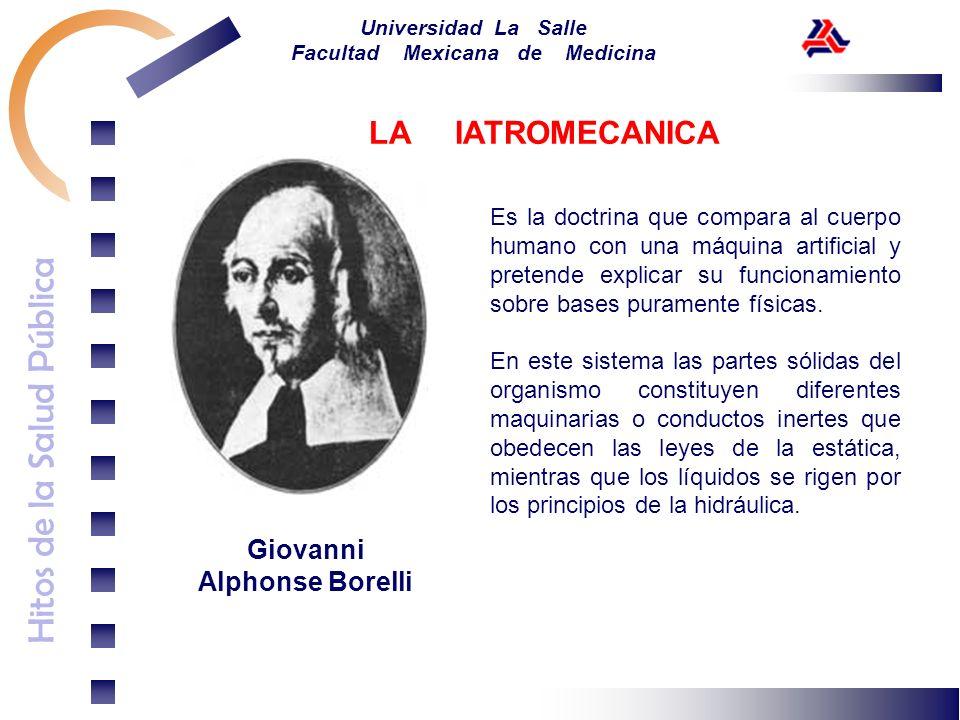 Hitos de la Salud Pública Universidad La Salle Facultad Mexicana de Medicina Giovanni Alphonse Borelli Es la doctrina que compara al cuerpo humano con