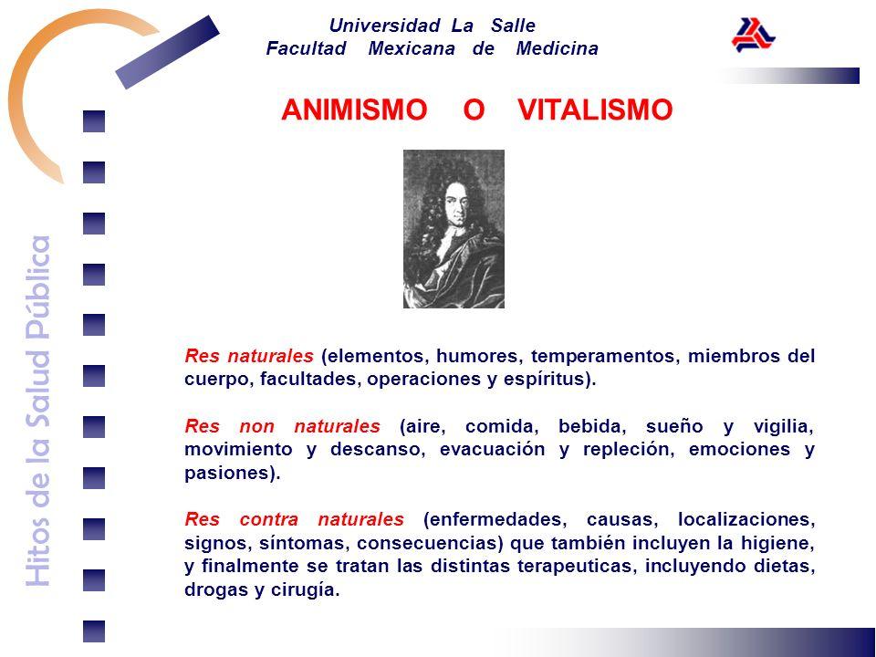 Hitos de la Salud Pública Universidad La Salle Facultad Mexicana de Medicina Res naturales (elementos, humores, temperamentos, miembros del cuerpo, fa