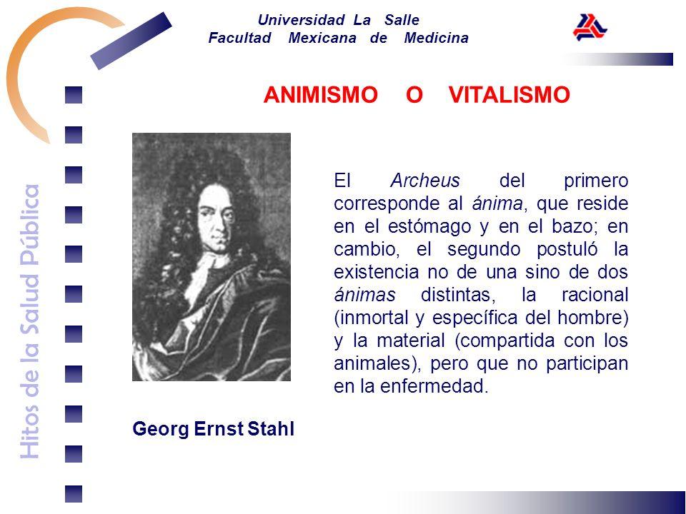 Hitos de la Salud Pública Universidad La Salle Facultad Mexicana de Medicina Georg Ernst Stahl El Archeus del primero corresponde al ánima, que reside