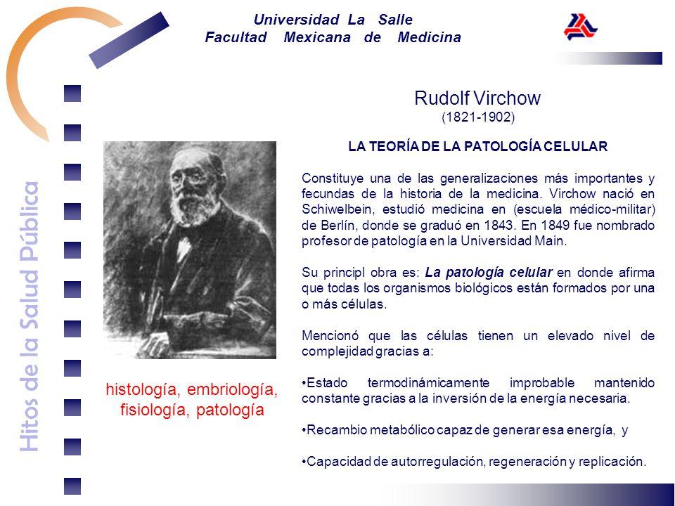 Hitos de la Salud Pública Universidad La Salle Facultad Mexicana de Medicina Rudolf Virchow (1821-1902) LA TEORÍA DE LA PATOLOGÍA CELULAR Constituye u
