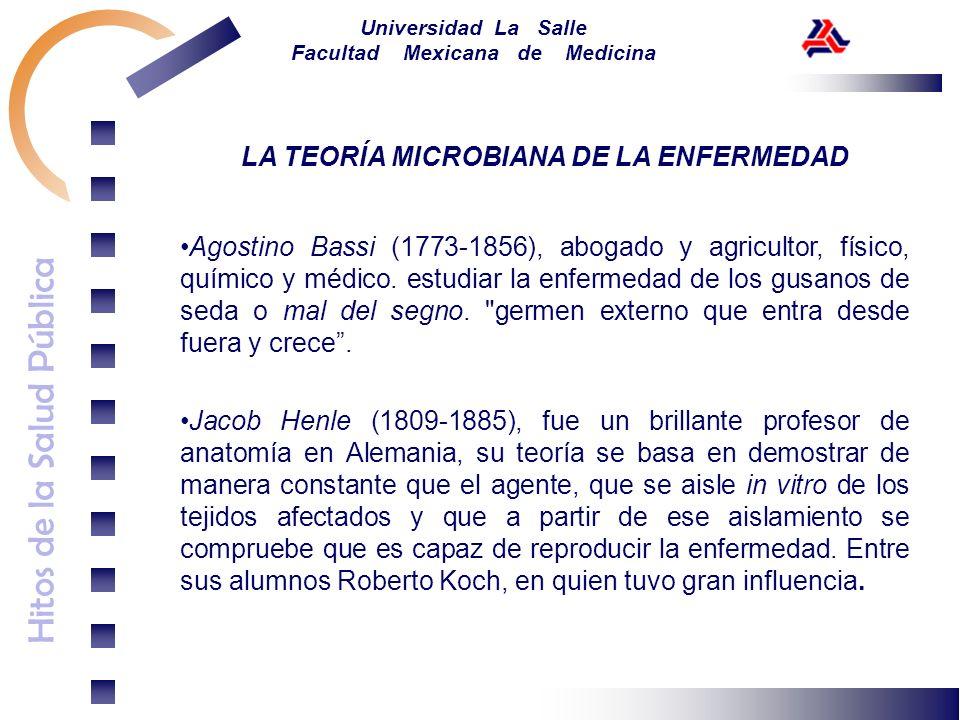 Hitos de la Salud Pública Universidad La Salle Facultad Mexicana de Medicina LA TEORÍA MICROBIANA DE LA ENFERMEDAD Agostino Bassi (1773-1856), abogado