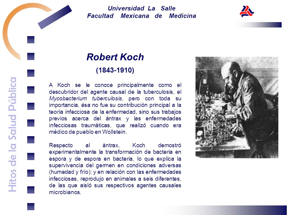 Hitos de la Salud Pública Universidad La Salle Facultad Mexicana de Medicina Robert Koch (1843-1910) A Koch se le conoce principalmente como el descub