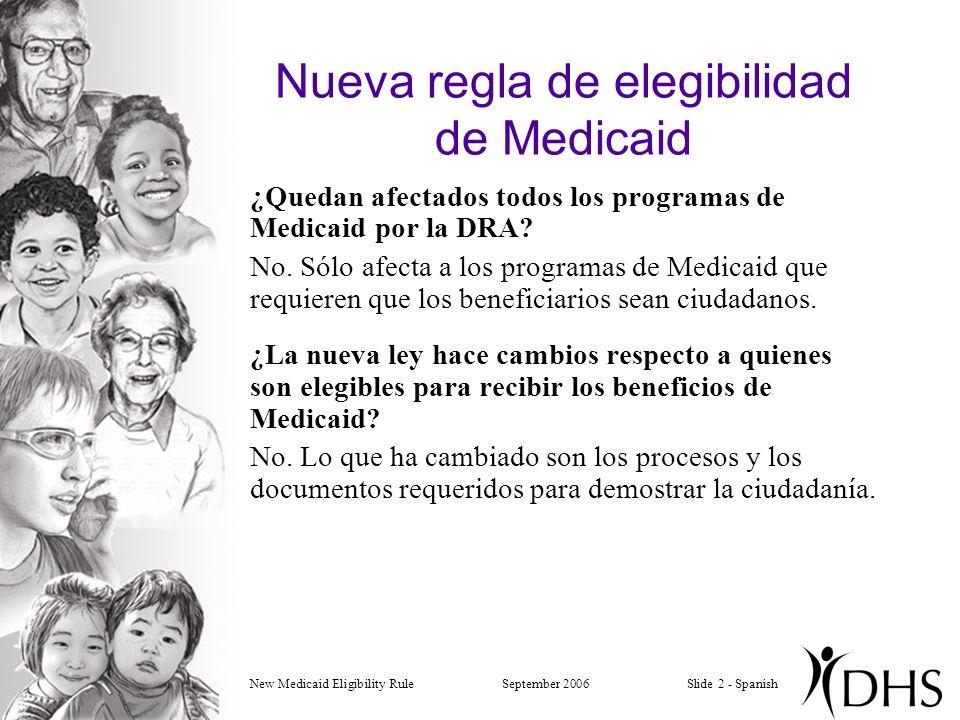 New Medicaid Eligibility RuleSeptember 2006Slide 2 - Spanish Nueva regla de elegibilidad de Medicaid ¿Quedan afectados todos los programas de Medicaid por la DRA.