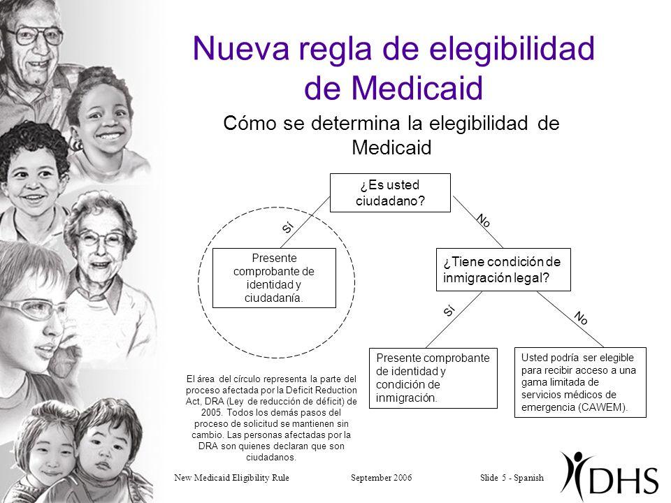 New Medicaid Eligibility RuleSeptember 2006Slide 5 - Spanish Nueva regla de elegibilidad de Medicaid Cómo se determina la elegibilidad de Medicaid Presente comprobante de identidad y ciudadanía.