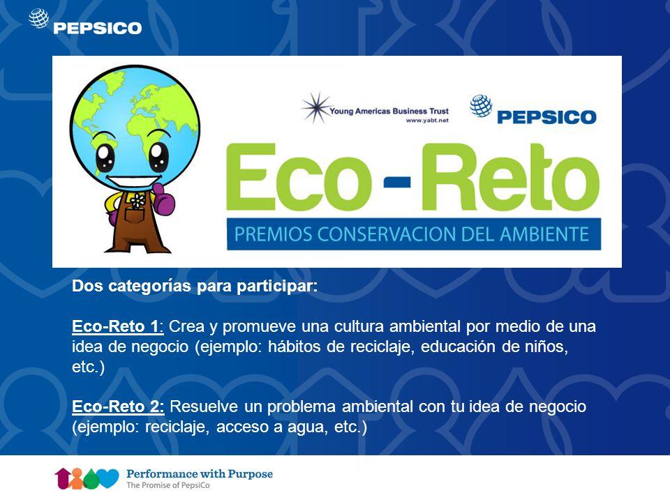 Document Title Goes Here9 Dos categorías para participar: Eco-Reto 1: Crea y promueve una cultura ambiental por medio de una idea de negocio (ejemplo: