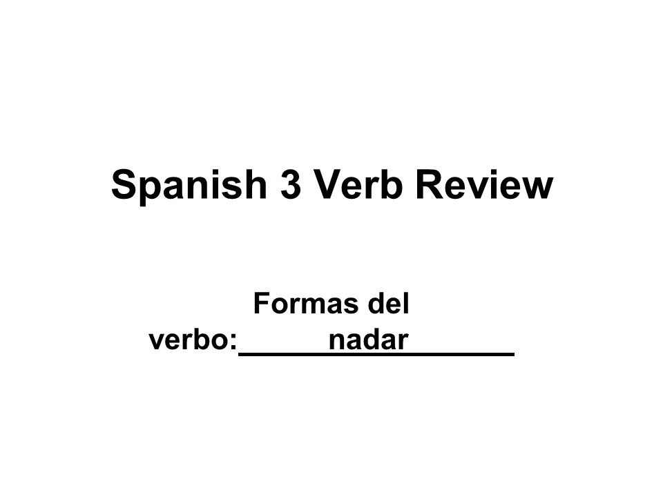 Spanish 3 Verb Review Formas del verbo: nadar