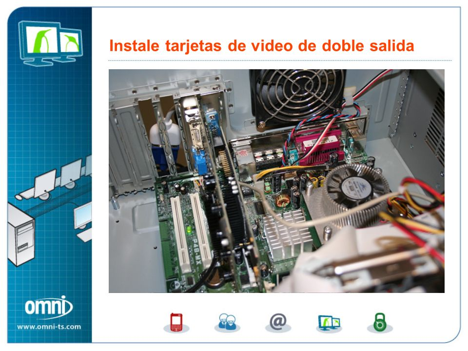 Instale tarjetas de video de doble salida