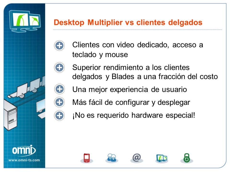 Clientes con video dedicado, acceso a teclado y mouse Superior rendimiento a los clientes delgados y Blades a una fracción del costo Una mejor experie
