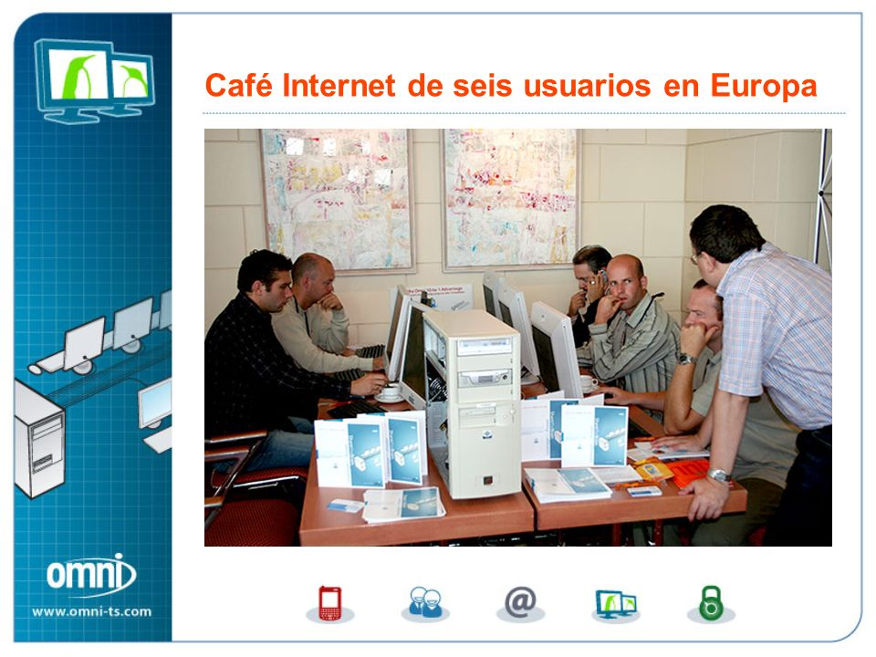Café Internet de seis usuarios en Europa