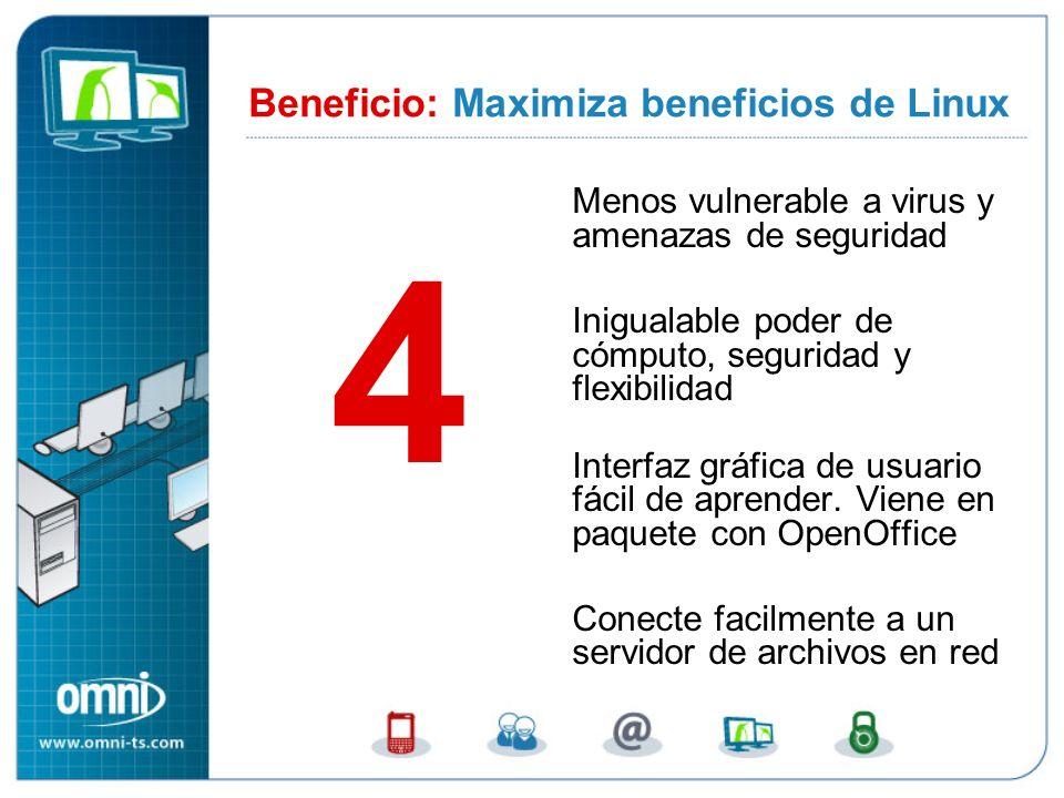 Menos vulnerable a virus y amenazas de seguridad Inigualable poder de cómputo, seguridad y flexibilidad Interfaz gráfica de usuario fácil de aprender.