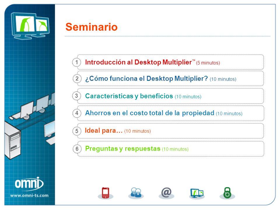 Introducción al Desktop Multiplier (5 minutos) ¿Cómo funciona el Desktop Multiplier? (10 minutos) Ahorros en el costo total de la propiedad (10 minuto