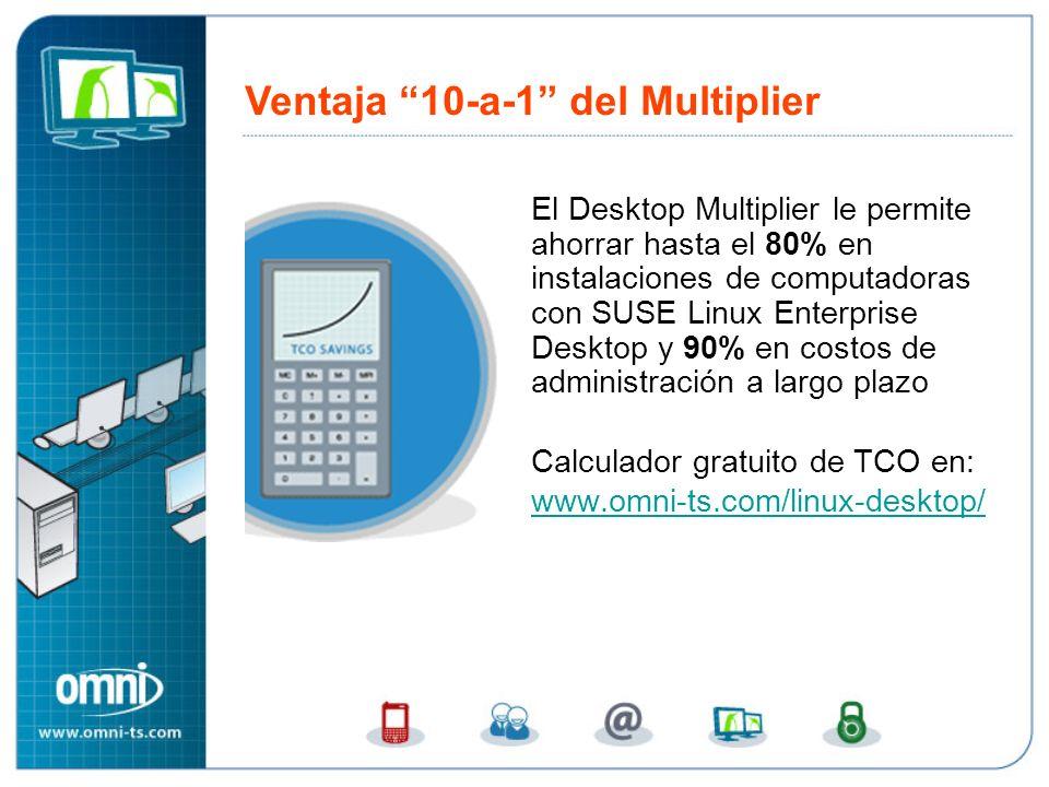 El Desktop Multiplier le permite ahorrar hasta el 80% en instalaciones de computadoras con SUSE Linux Enterprise Desktop y 90% en costos de administración a largo plazo Calculador gratuito de TCO en: www.omni-ts.com/linux-desktop/ www.omni-ts.com/linux-desktop/ Ventaja 10-a-1 del Multiplier