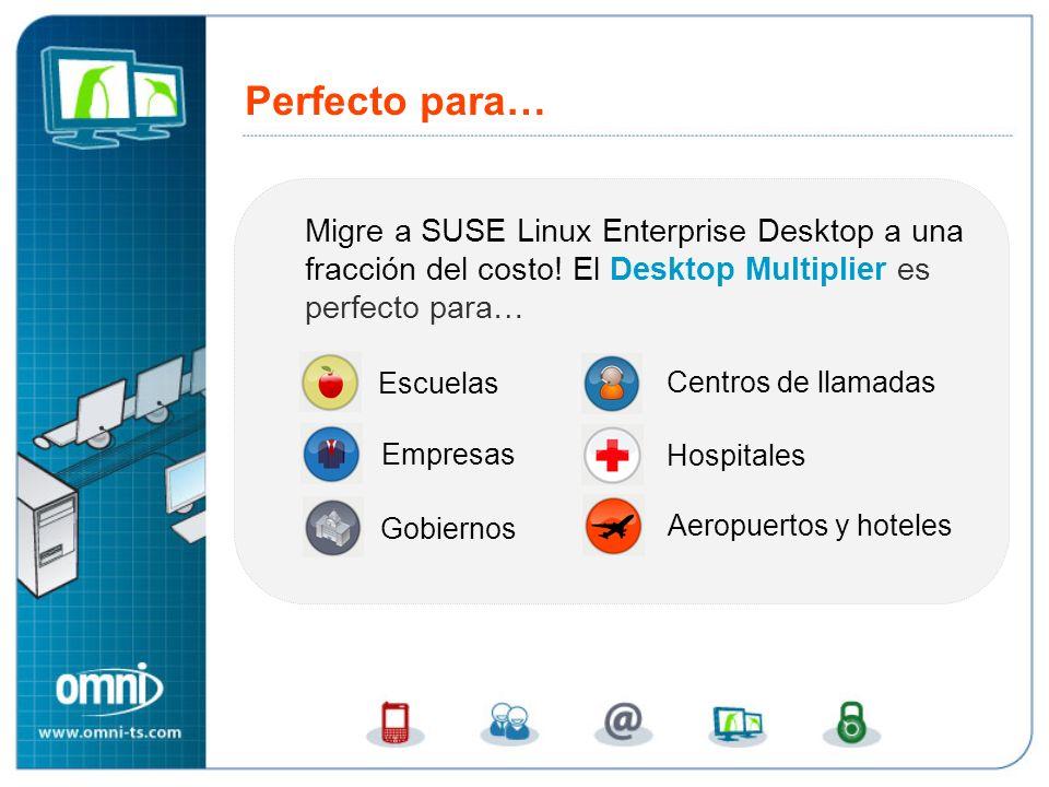 Perfecto para… Migre a SUSE Linux Enterprise Desktop a una fracción del costo! El Desktop Multiplier es perfecto para… Escuelas Centros de llamadas Ho