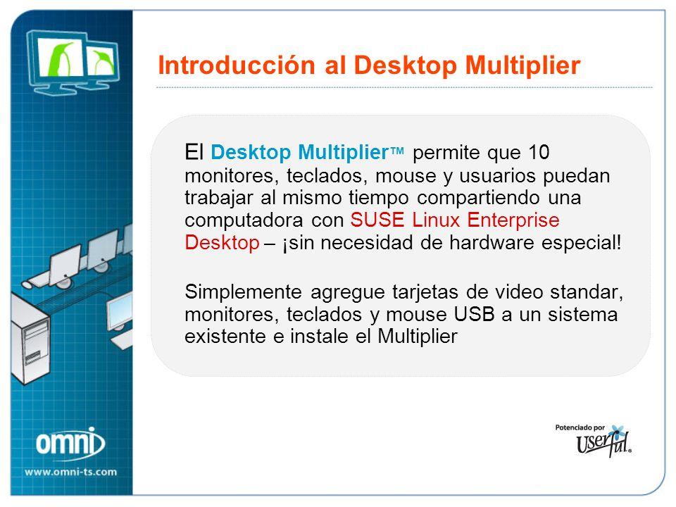 Introducción al Desktop Multiplier El Desktop Multiplier permite que 10 monitores, teclados, mouse y usuarios puedan trabajar al mismo tiempo compartiendo una computadora con SUSE Linux Enterprise Desktop – ¡sin necesidad de hardware especial.