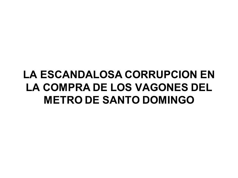 SOBREPRECIO PAGADO POR GOBIERNO DEL PLD A LA ALSTOM EN LA COMPRA DE VAGONES DE LA LINEA #1 DEL METRO DETALLE DE CONTRATOS DE COMPRA A LA ALSTOM METRO DE SHANGAI, CHINA METRO DE SANTO DOMINGO (LINEA #1) Monto del contrato de compra (euros) 210,000,000.0092,500,000.00 Cantidad de vagonesMetropolis 24657 Precio pagado por vagón (euros) 853,6581,622,807 Precio pagado por vagón (US$, 1 euro = US$1.33) 1,135,3652,158,333 Sobreprecio pagado por Gbno.