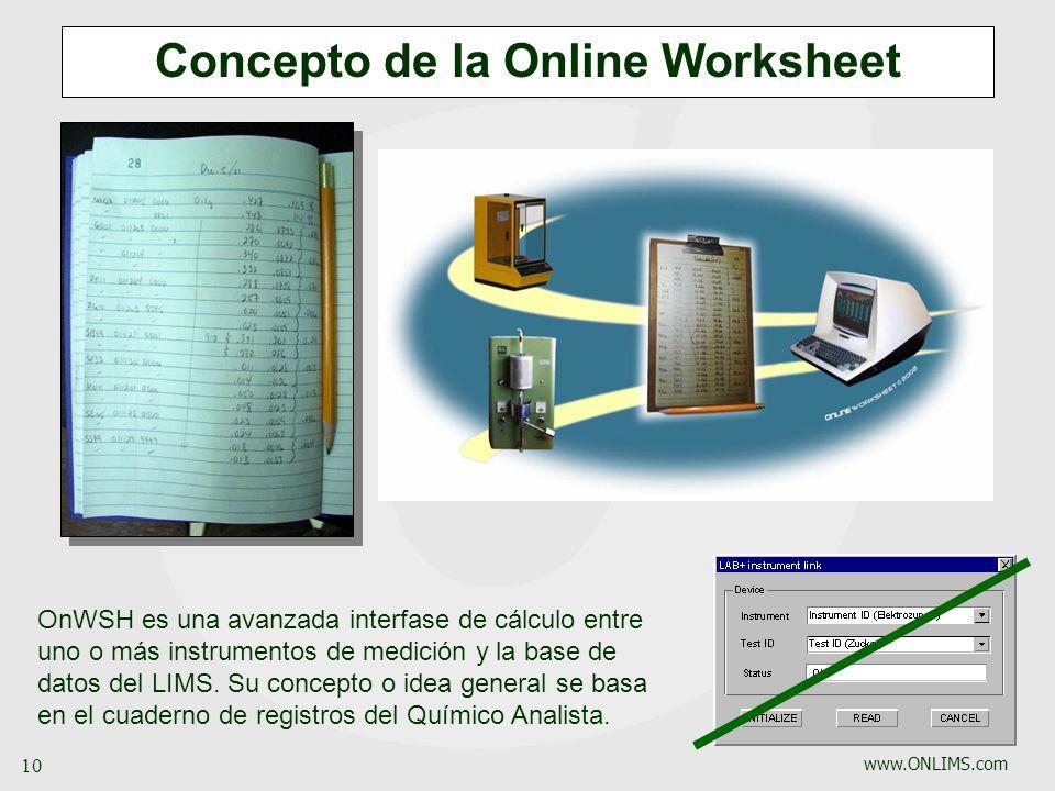 www.ONLIMS.com 10 Concepto de la Online Worksheet OnWSH es una avanzada interfase de cálculo entre uno o más instrumentos de medición y la base de dat