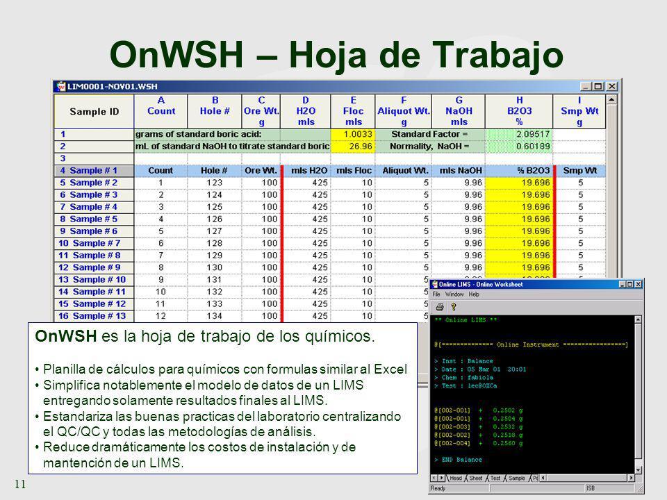 www.ONLIMS.com 11 OnWSH – Hoja de Trabajo OnWSH es la hoja de trabajo de los químicos. Planilla de cálculos para químicos con formulas similar al Exce