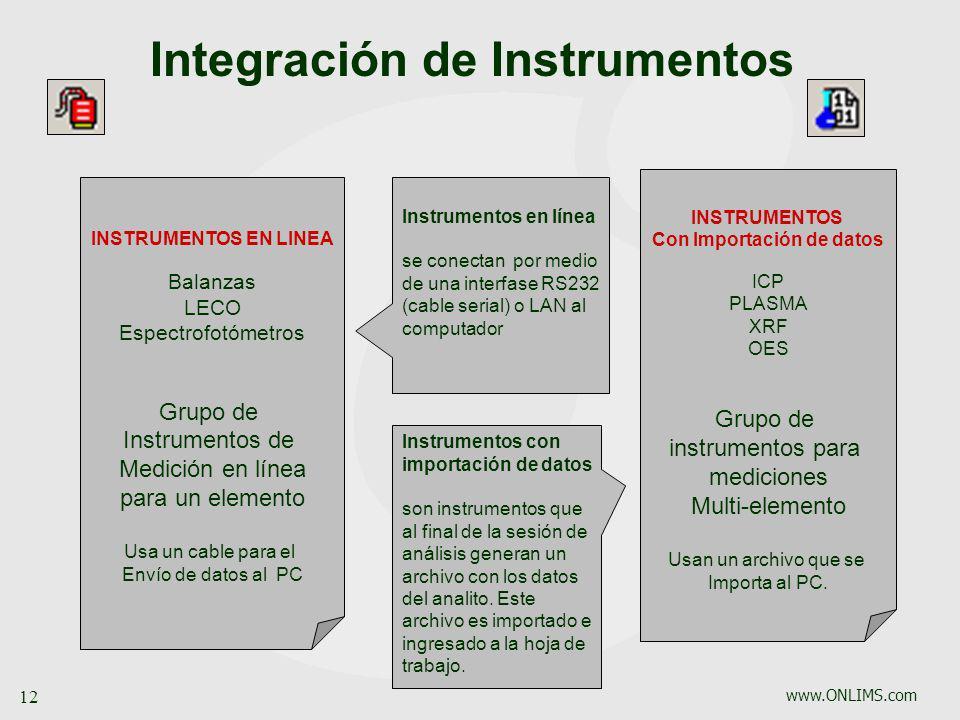 www.ONLIMS.com 12 Integración de Instrumentos INSTRUMENTOS Con Importación de datos ICP PLASMA XRF OES Grupo de instrumentos para mediciones Multi-ele