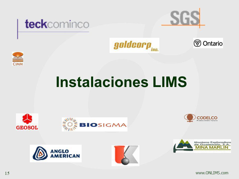 www.ONLIMS.com 15 Instalaciones LIMS