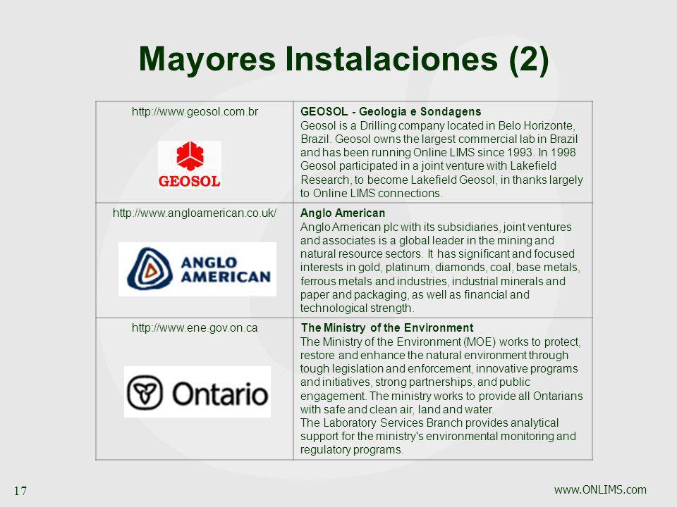 www.ONLIMS.com 17 Mayores Instalaciones (2) http://www.geosol.com.brGEOSOL - Geologia e Sondagens Geosol is a Drilling company located in Belo Horizon