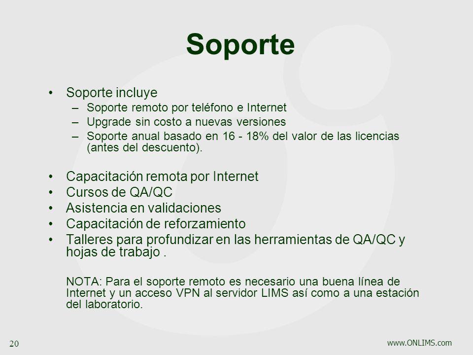 www.ONLIMS.com 20 Soporte Soporte incluye –Soporte remoto por teléfono e Internet –Upgrade sin costo a nuevas versiones –Soporte anual basado en 16 -