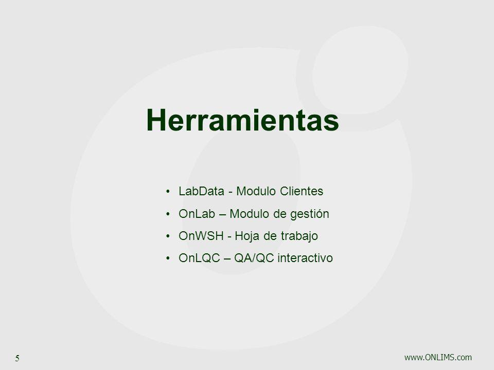 www.ONLIMS.com 5 Herramientas LabData - Modulo Clientes OnLab – Modulo de gestión OnWSH - Hoja de trabajo OnLQC – QA/QC interactivo