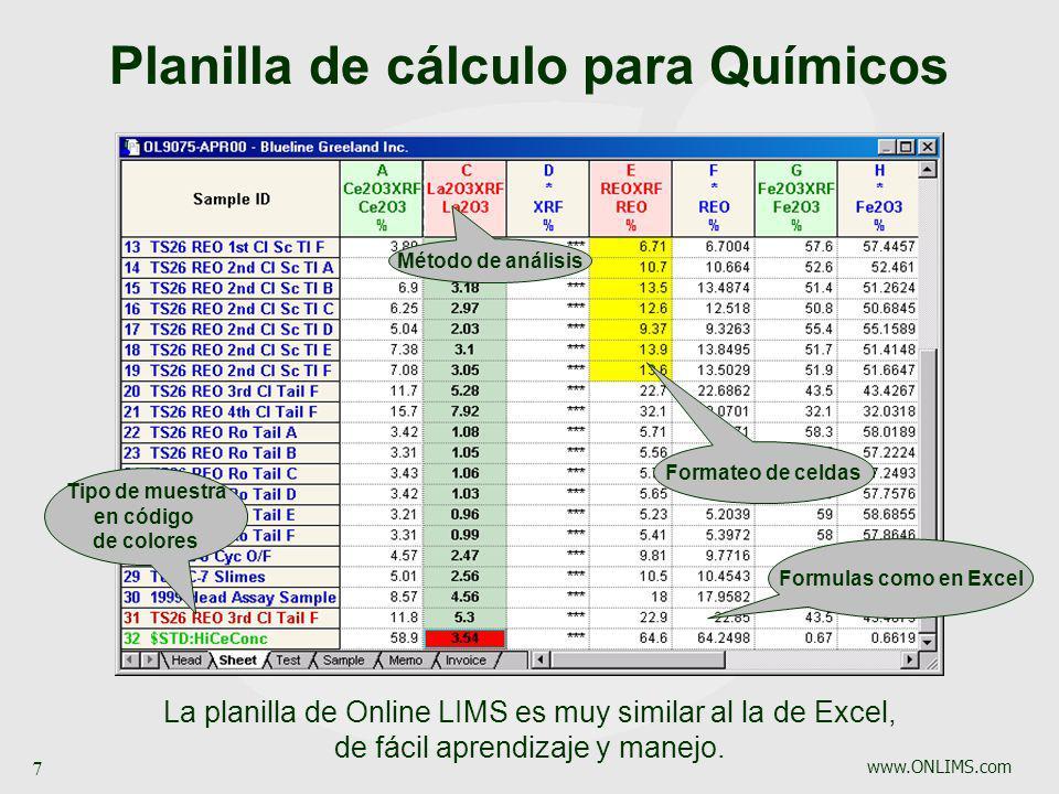 www.ONLIMS.com 7 Tipo de muestra en código de colores Formateo de celdas Método de análisis La planilla de Online LIMS es muy similar al la de Excel,