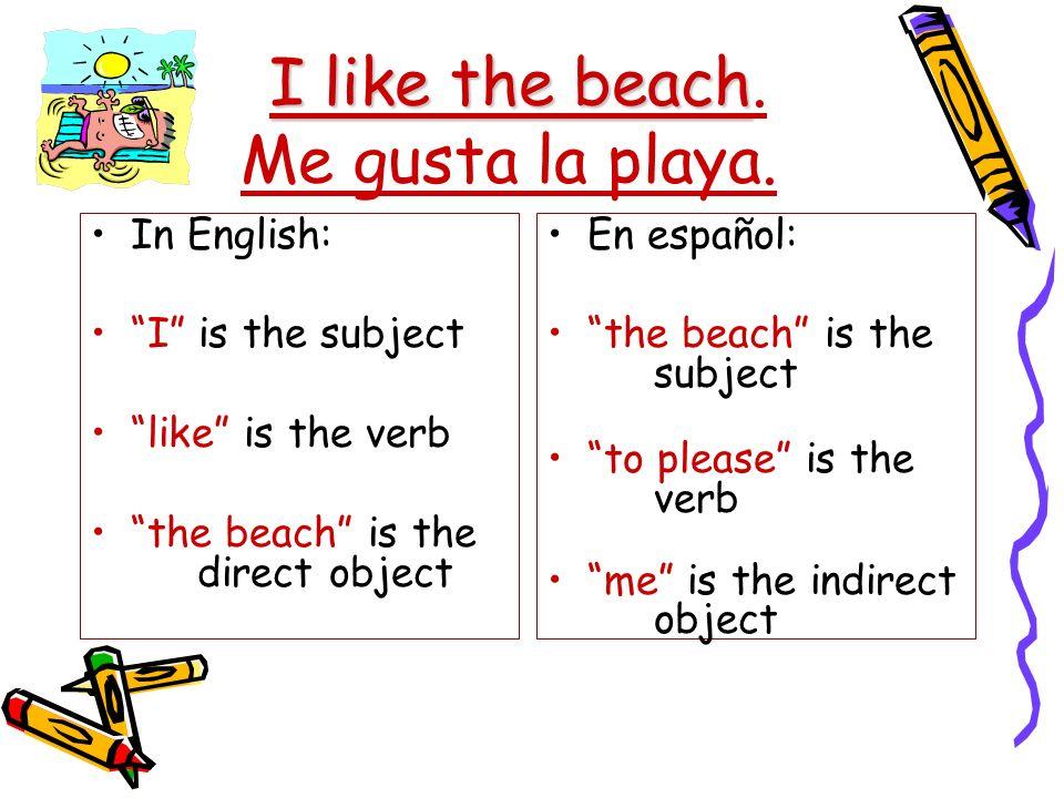 I like the beach I like the beach. Me gusta la playa. In English: I is the subject like is the verb the beach is the direct object En español: the bea