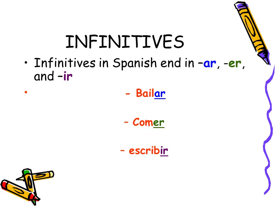 INFINITIVES Infinitives in Spanish end in –ar, -er, and –ir - Bailar –Comer –escribir