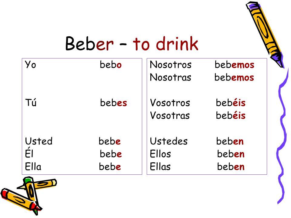 Beber – to drink Yo bebo Tú bebes Usted bebe Él bebe Ella bebe Nosotros bebemos Nosotras bebemos Vosotros bebéis Vosotras bebéis Ustedes beben Ellos b