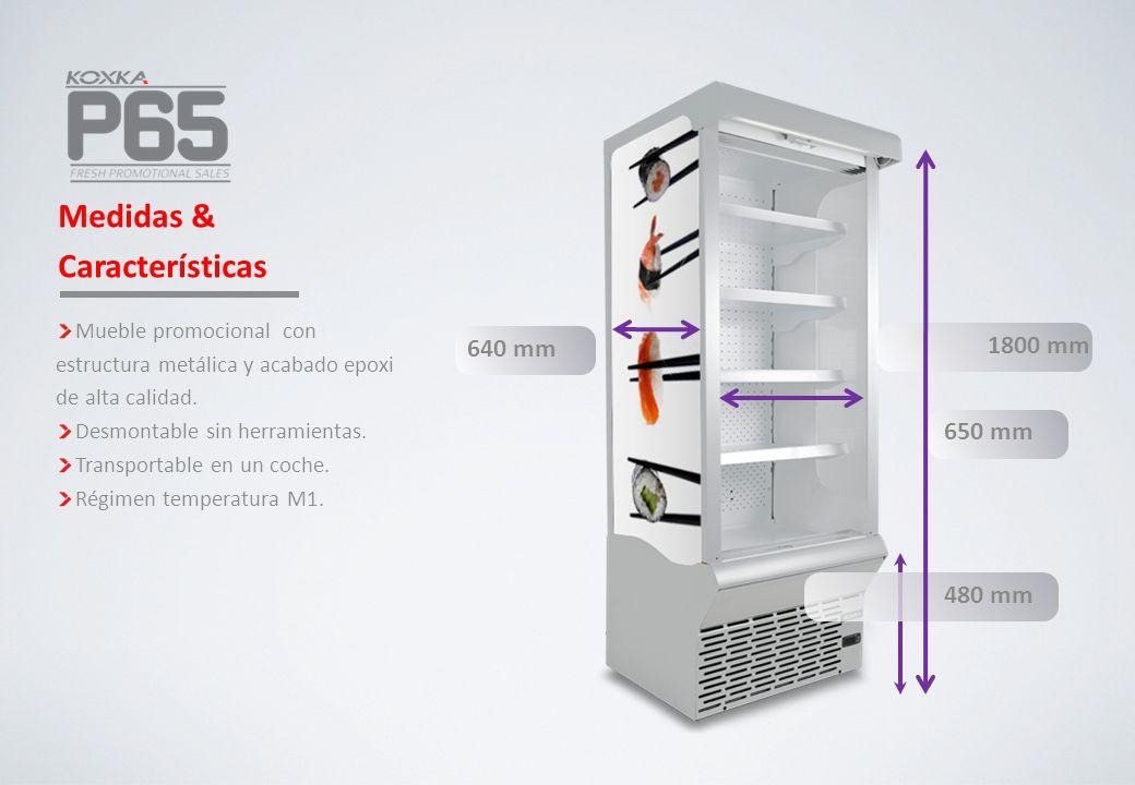 640 mm Medidas & Características 1800 mm480 mm 650 mm Mueble promocional con estructura metálica y acabado epoxi de alta calidad. Desmontable sin herr