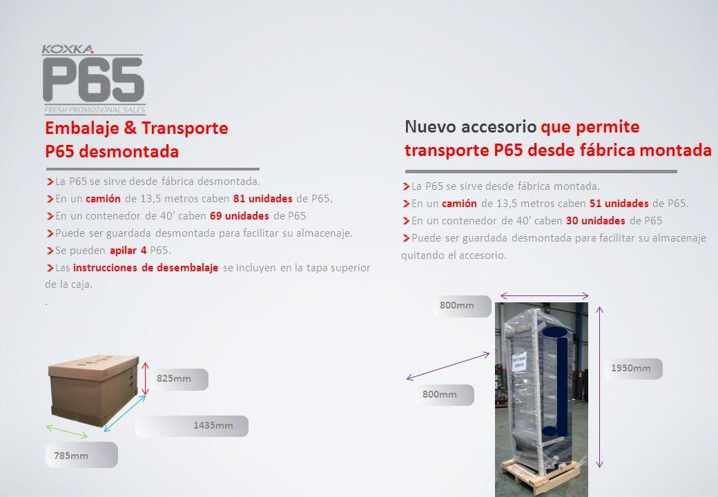 Embalaje & Transporte P65 desmontada La P65 se sirve desde fábrica desmontada. En un camión de 13,5 metros caben 81 unidades de P65. En un contenedor