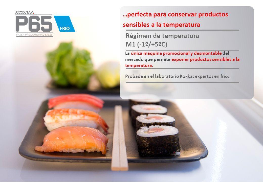 … perfecta para conservar productos sensibles a la temperatura Régimen de temperatura M1 (-1º/+5ºC) La única máquina promocional y desmontable del mer