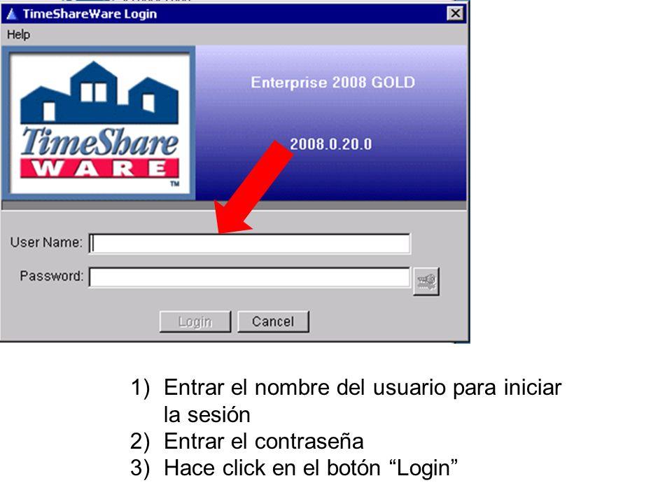 1)Entrar el nombre del usuario para iniciar la sesión 2)Entrar el contraseña 3)Hace click en el botón Login
