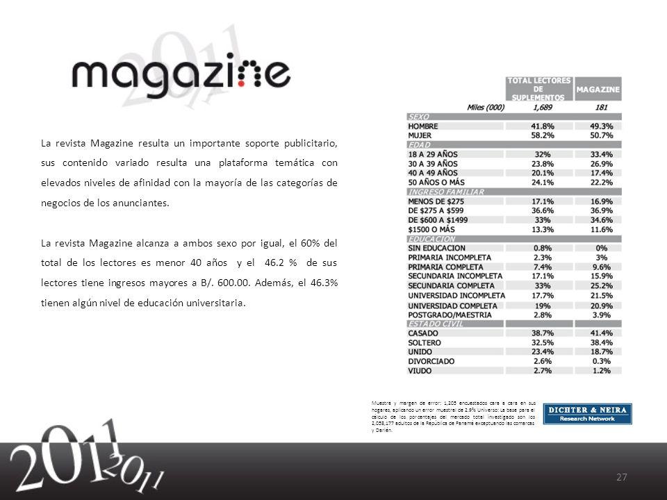 La revista Magazine resulta un importante soporte publicitario, sus contenido variado resulta una plataforma temática con elevados niveles de afinidad