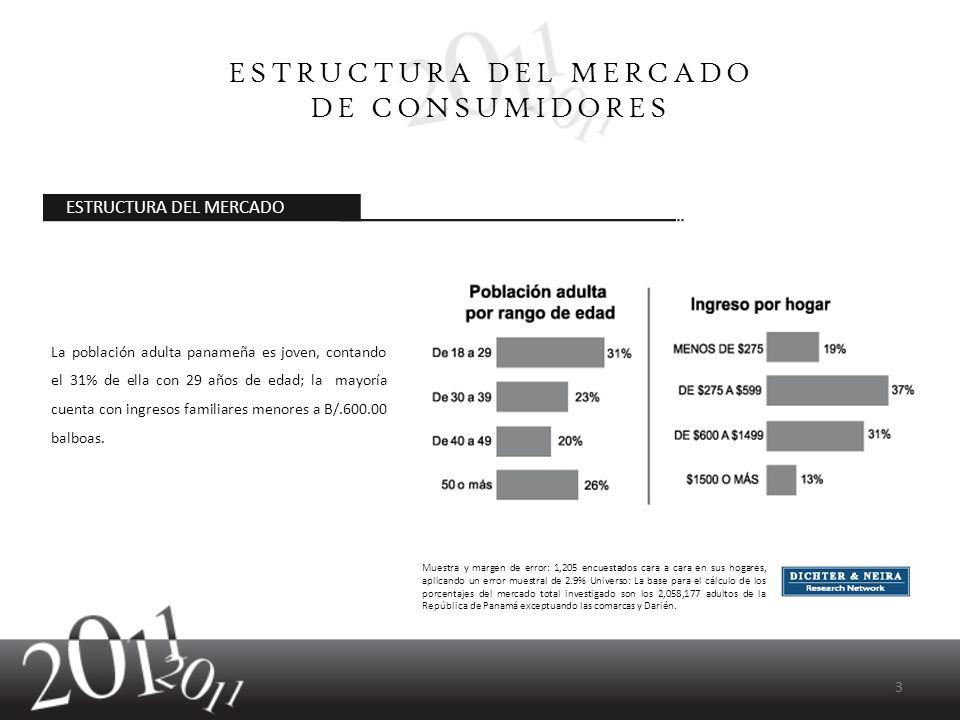 La población adulta panameña es joven, contando el 31% de ella con 29 años de edad; la mayoría cuenta con ingresos familiares menores a B/.600.00 balb