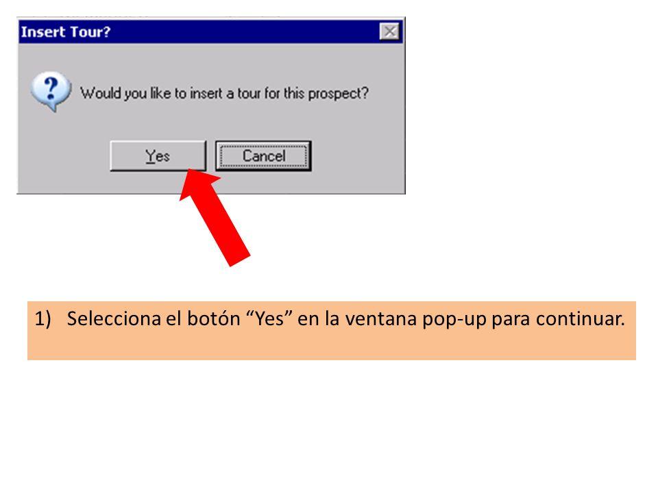 1)Selecciona el botón Yes en la ventana pop-up para continuar.