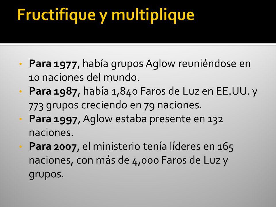 Para 1977, había grupos Aglow reuniéndose en 10 naciones del mundo. Para 1987, había 1,840 Faros de Luz en EE.UU. y 773 grupos creciendo en 79 nacione