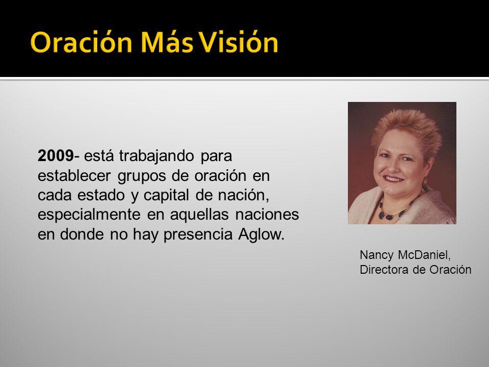 1967 –Aglow nació como resultado de la oración 1980 –Jane Hansen Hoyt se convirtió en la Presidenta Internacional 1981- surgió el primer mandato – reconciliación hombre/mujer 1991 - surgió el segundo mandato – el llamado al islamismo, a exponer el sistema y amar a las personas 1999-Nancy McDaniel fue designada como Directora de Oración