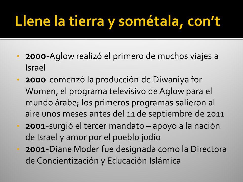 2000- Aglow realizó el primero de muchos viajes a Israel 2000- comenzó la producción de Diwaniya for Women, el programa televisivo de Aglow para el mu