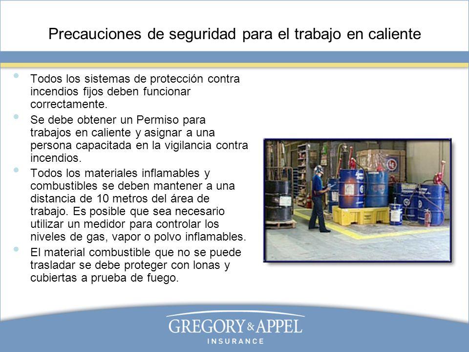 Precauciones de seguridad para el trabajo en caliente Todos los sistemas de protección contra incendios fijos deben funcionar correctamente. Se debe o