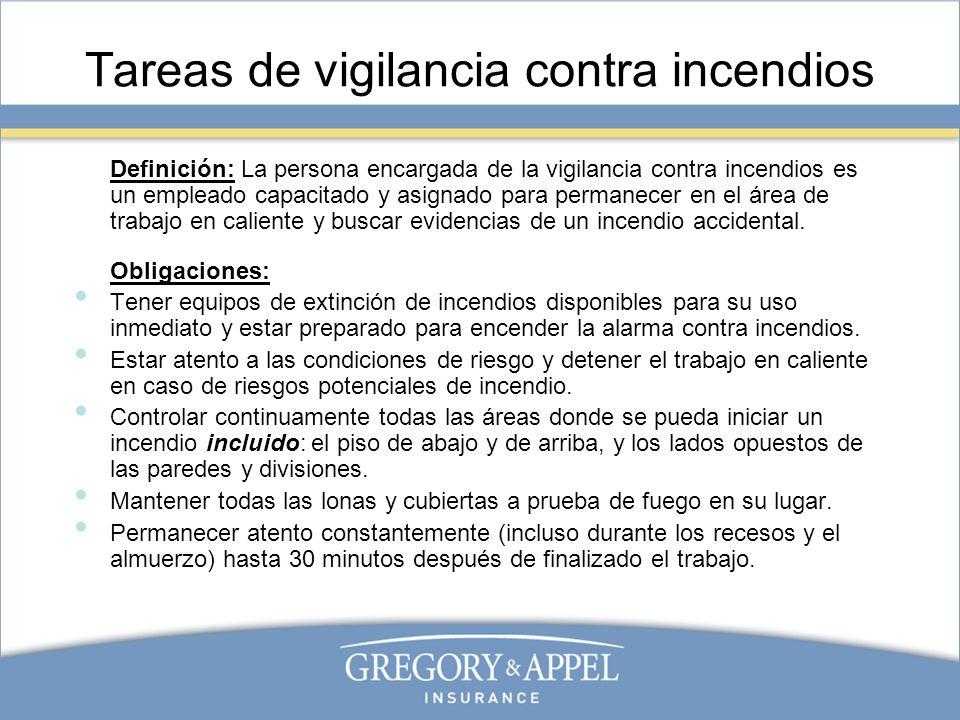 Tareas de vigilancia contra incendios Definición: La persona encargada de la vigilancia contra incendios es un empleado capacitado y asignado para per